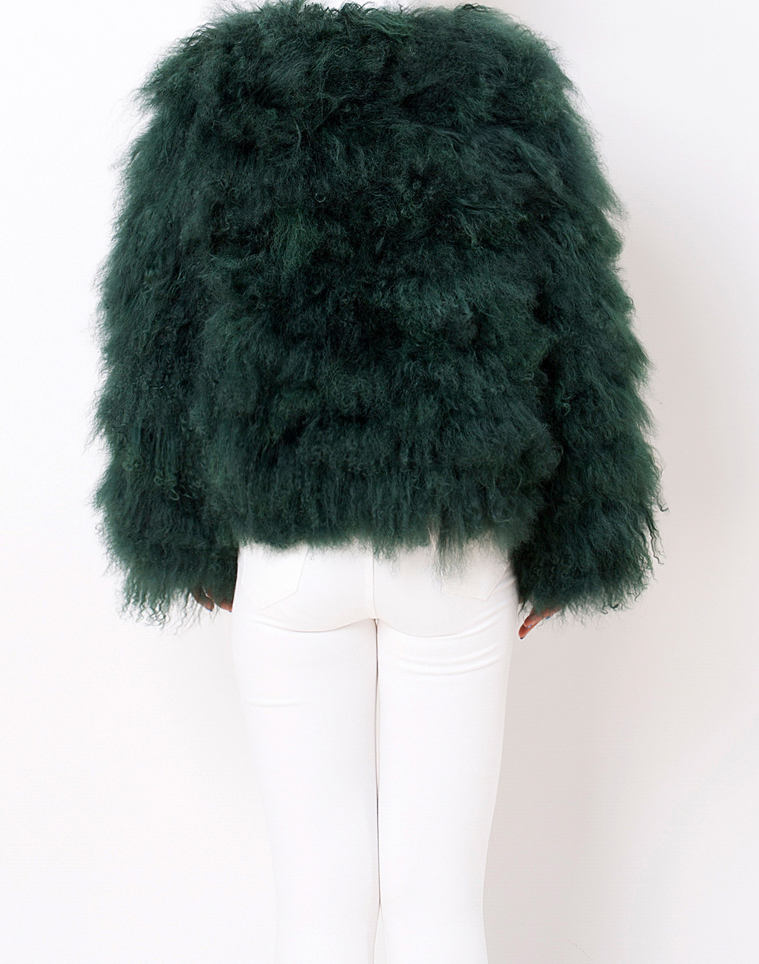 Mongolian Fur Jacket Jade Green - Pellobello