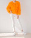 Fluffy Fur Fever Jacket Fuzzy Orange Front