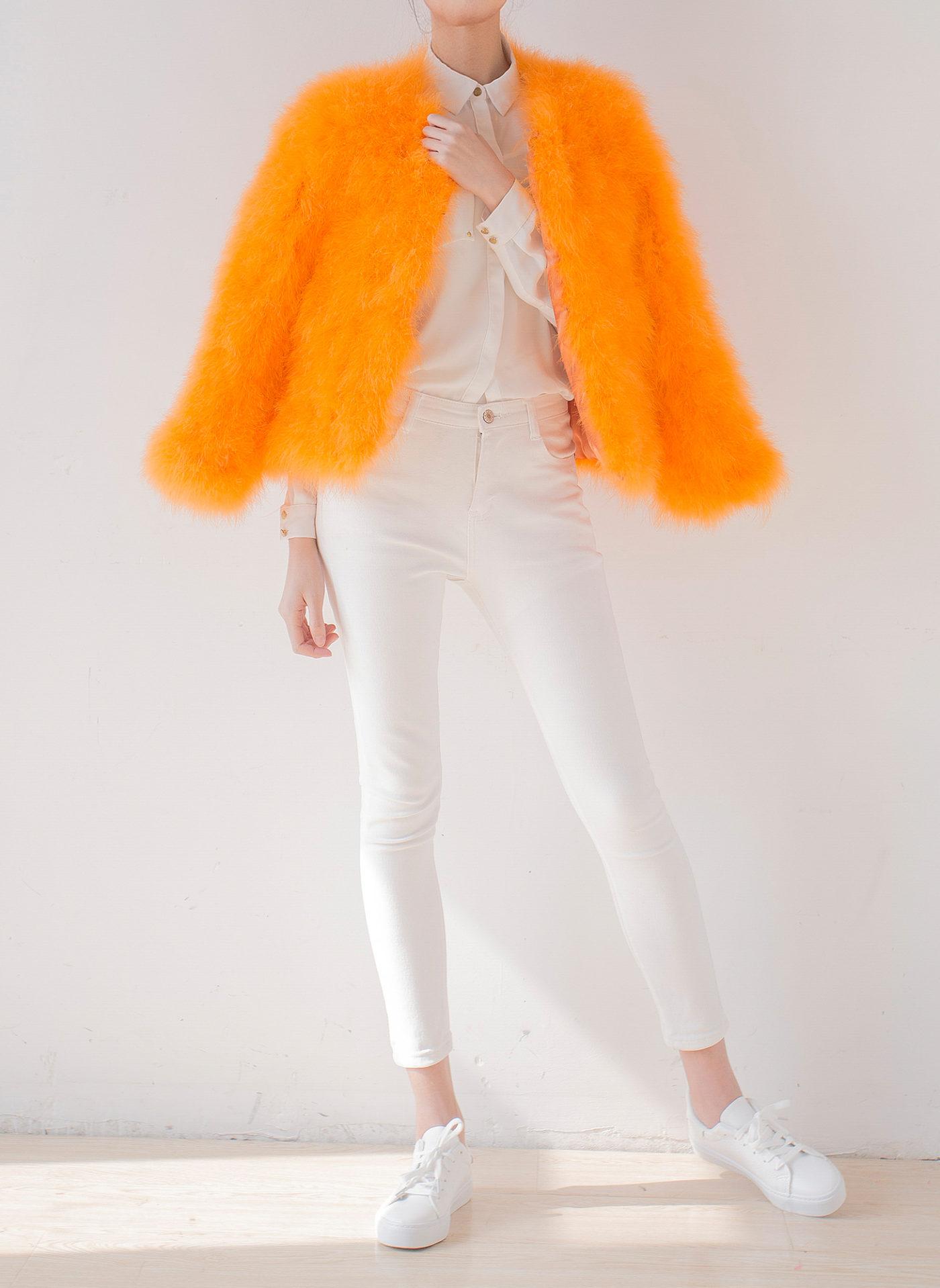 Fluffy Fur Fever Jacket Fuzzy Orange Front Open