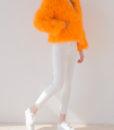 Fluffy Fur Fever Jacket Fuzzy Orange Front Side