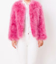 Fluffy Fur Fever Jacket Raspberry Pink Front 1