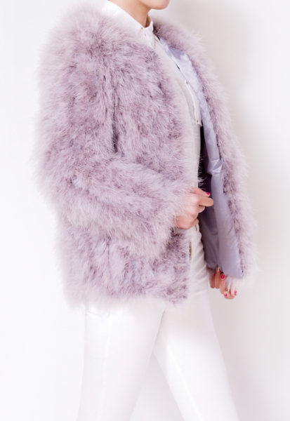 Fluffy Fur Fever Jacket Long Version Watercolour Ash Grey Half Side
