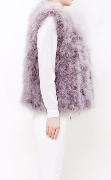 Fluffy Fur Fever Vest Watercolour Ash Grey Side