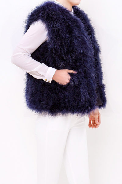 Fluffy Fur Fur Fever Vest Midnight Blue
