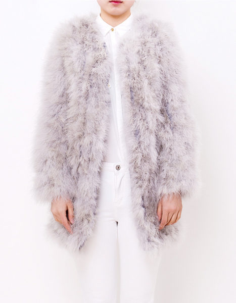 Fluffy Fur Fever Coat Ash Grey Front 1