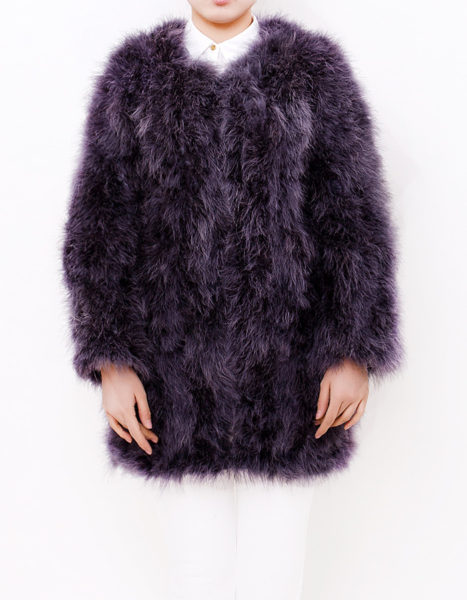 Fluffy Fur Fever Coat Charcoal Grey Front