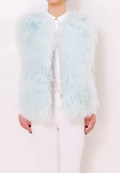 Mongolian Fur Vest Water Blue Front