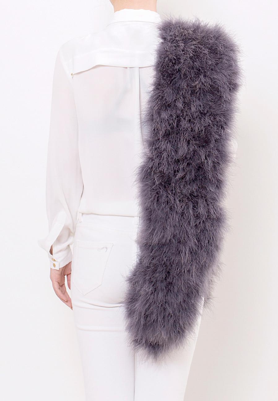 fluffy scarf charcoal grey pellobello