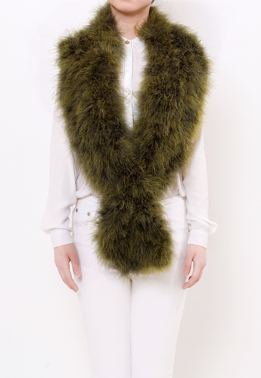 Long Fluffy Scarf Moss Green Front 1