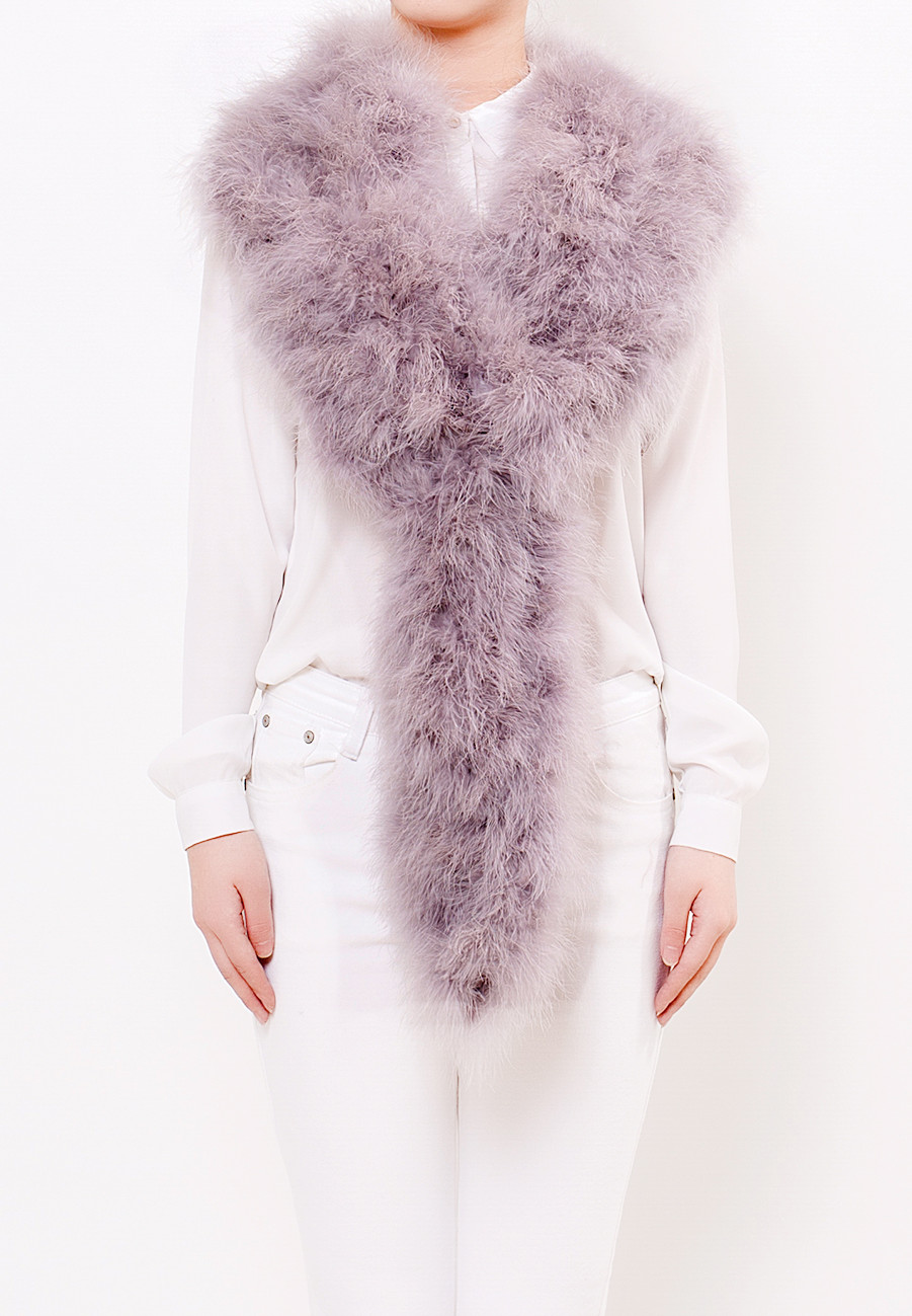 Long Fluffy Scarf Watercolour Ash Grey Front