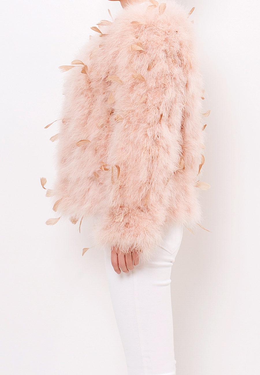 3D Feather Jacket Beige Side