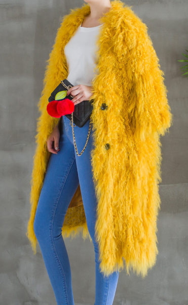Soft Knitted Shearling Long Coat Half Side
