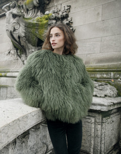Army Green Mongolian Fur Jacket