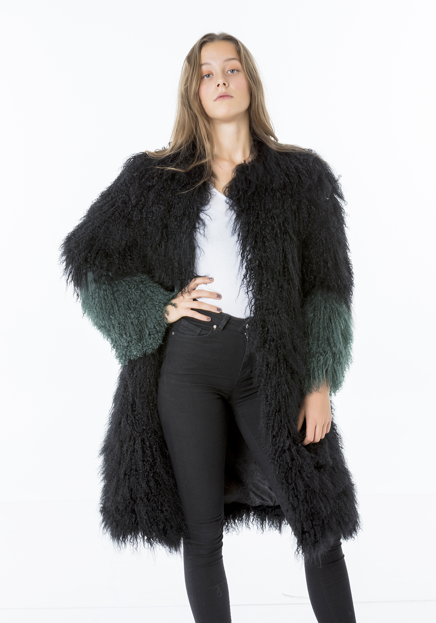 Oversized Shearling Long Coat - Pellobello