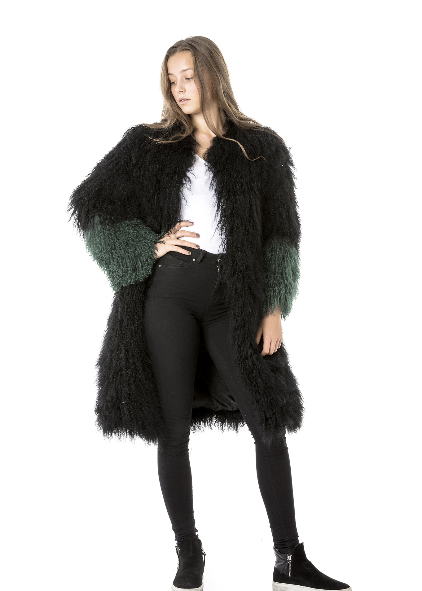 Oversized Shearling Long Coat - Pellobello