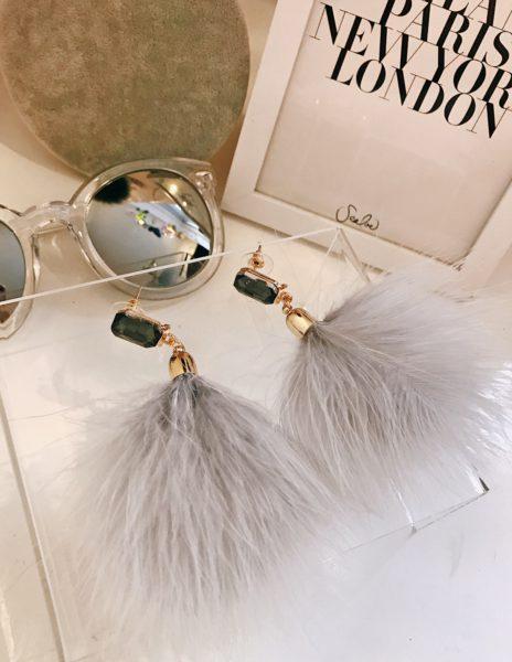 Feather Diamond Earrings Grey