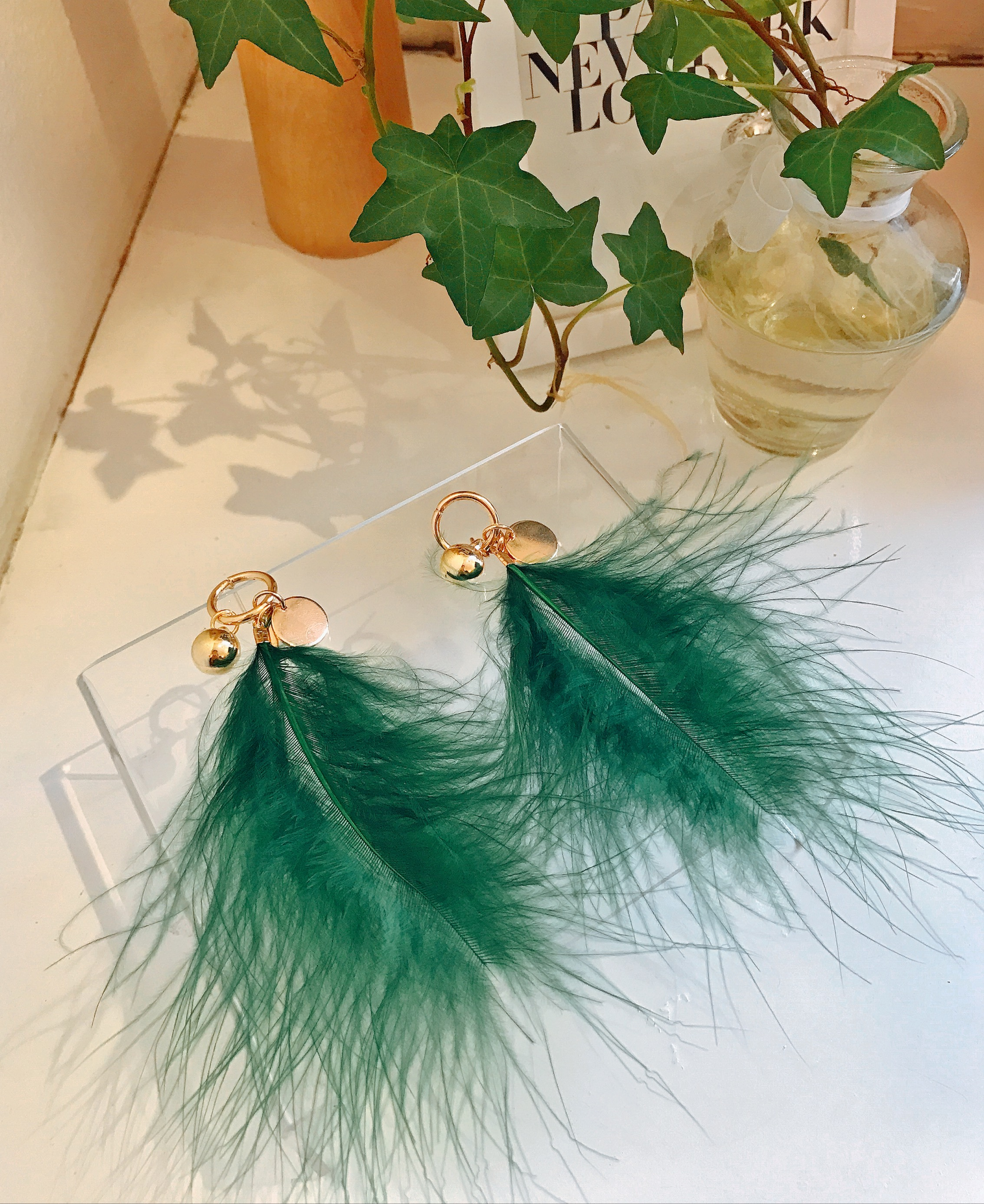 Long Feather Earrings Green