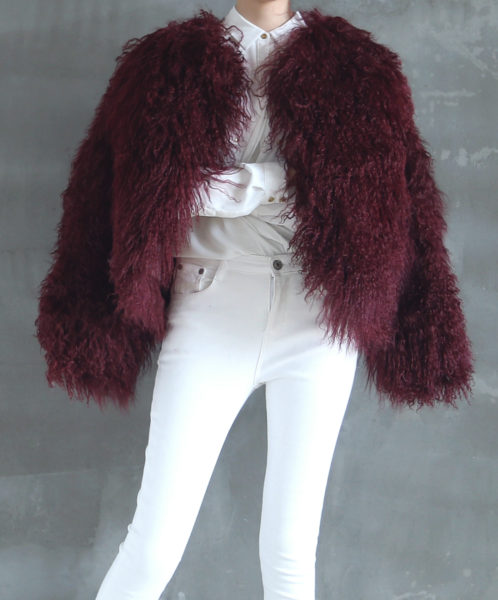 Mongolian Fur Jacket Dark Cherry Cover