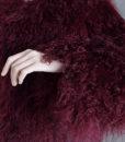 Mongolian Fur Jacket Dark Cherry Details 2