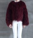 Mongolian Fur Jacket Dark Cherry Front