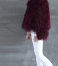 Mongolian Fur Jacket Dark Cherry Side