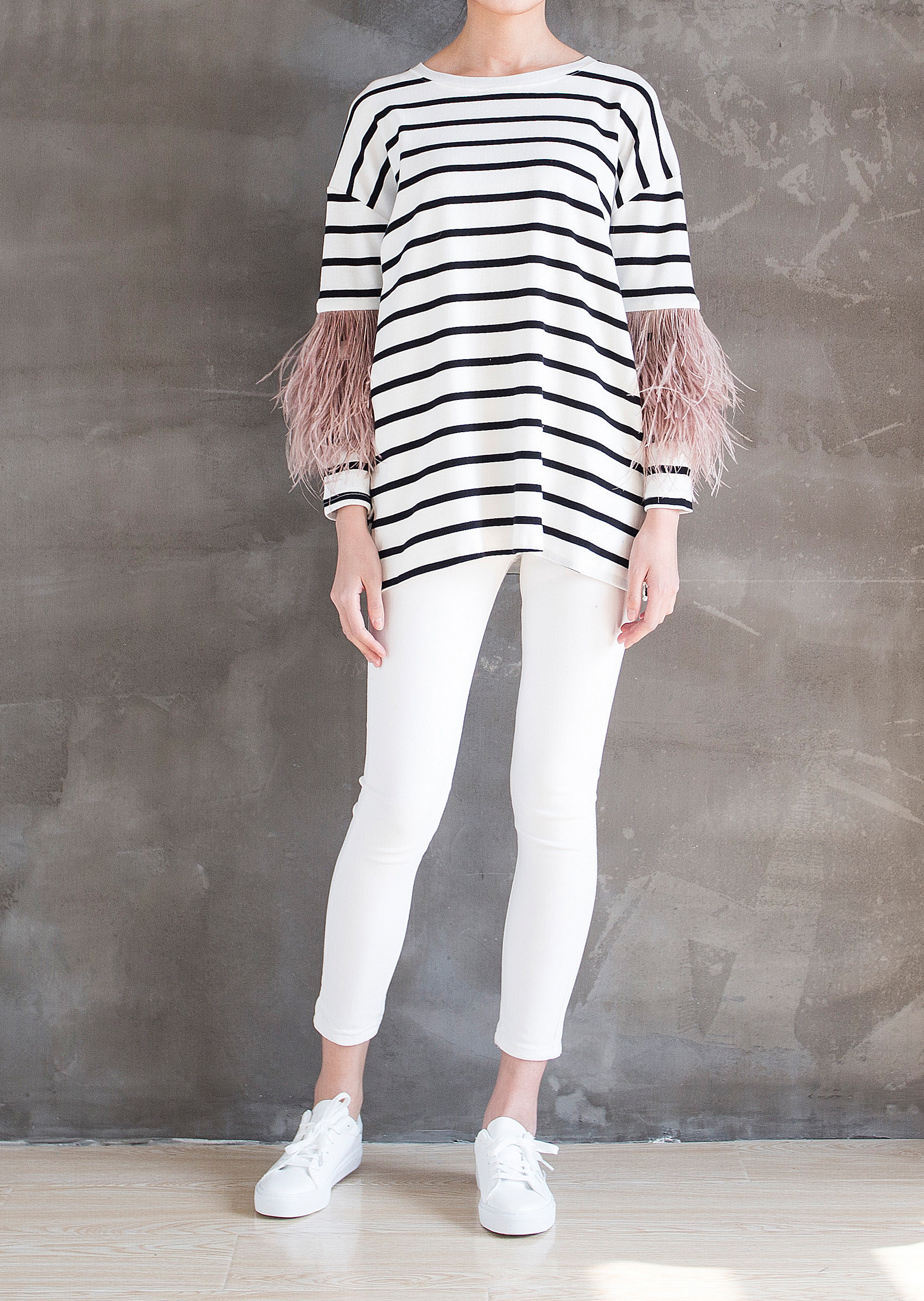 Feather Arm Tee Dress Front 2