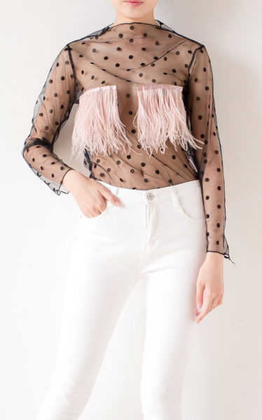 Transparent Feather Top Front