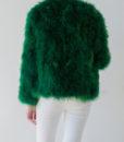 Fluffy Fur Fever Jacket Emerald Green Back