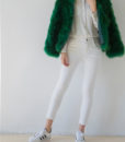 Fluffy Fur Fever Jacket Emerald Green Open Front