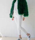 Fluffy Fur Fever Jacket Emerald Green Whole Look