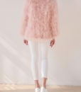 Fluffy Fur Fever Jacket Long Version Soft Pink Back