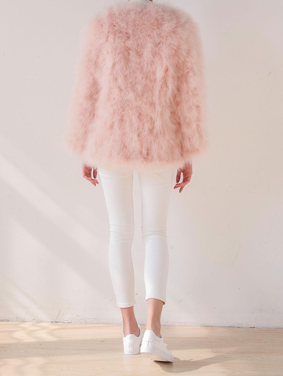 Fluffy Fur Fever Jacket Long Version Soft Pink Back