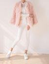 Fluffy Fur Fever Jacket Long Version Soft Pink Pose 1
