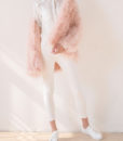 Fluffy Fur Fever Jacket Long Version Soft Pink Pose 2
