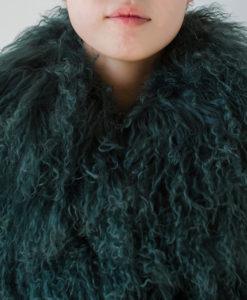 Mongolian Collar Coat Jade Green Details 1