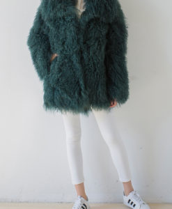 Mongolian Collar Coat Jade Green Front 1