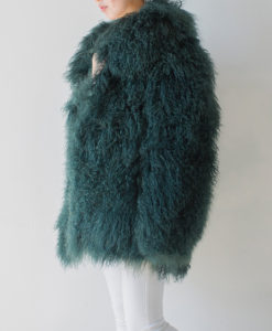 Mongolian Collar Coat Jade Green Side