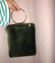 Faux Fur Bracelet Bag Green