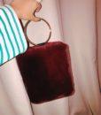 Faux Fur Bracelet Bag Red