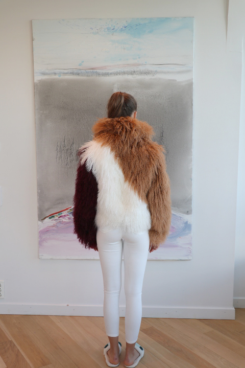 Mongolian Collar Jacket Brown White Red Wine Back