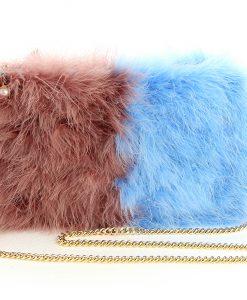 Double color blue fluffy bag