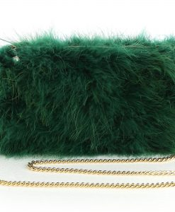 Emerald Green Feather Bag