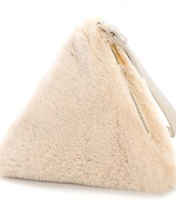 Faux Fur Triangle Bag Creamy Beige