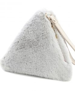 Faux Fur Triangle Bag Light Grey